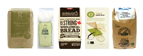 A selection of prepacked flours available from www.realplasticfree.com